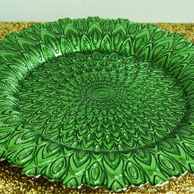Charger Plate Glass Peacock Design - Green