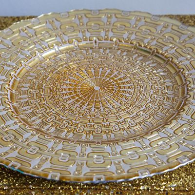 Charger Plate Aztec Design - Gold/White