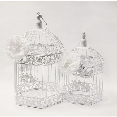 Hexagon Birdcage Set of 2 - White