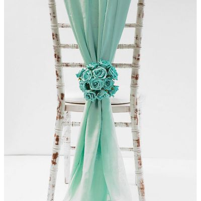 Chiffon Vertical Drops - Tiffany Blue
