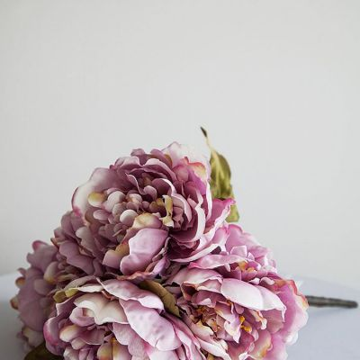 Large Peony Bunch 5 Head - Mauve/Pink
