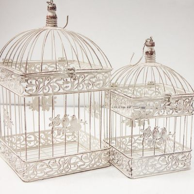 Rustic Ivory Birdcage Set of 2 - DT1002