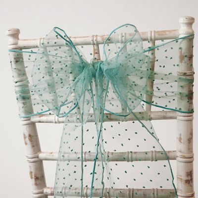 Kimmy Dot Organza Sash - Powered Teal
