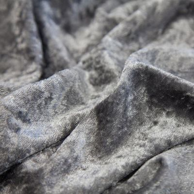 Crushed Velvet Fabric 170cm Wide - Dark Silver