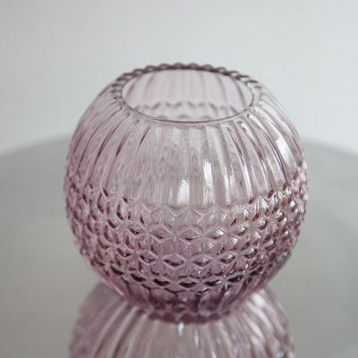 Retro Rounded Pink Tealight Holder