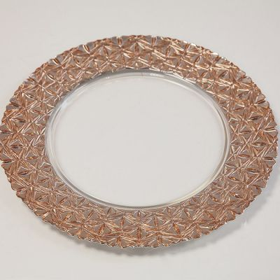 Charger Plate With Geometric Rim - Rose Gold 0281