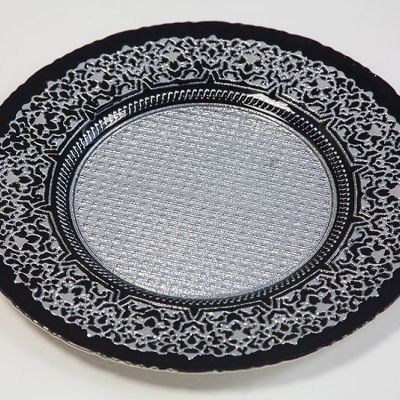 Charger Plate Black/Silver Design - 0158