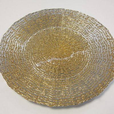 Charger Plate Daisy Dot Design - Gold 0291