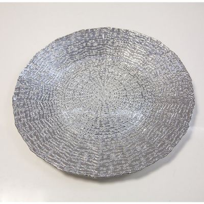 Charger Plate Daisy Dot Design - Silver 0291