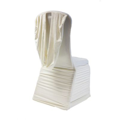 Spandex Ruched Swag Back Chair Cover - Ivory