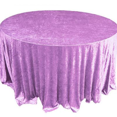 Crushed Velvet Table Cloths 132 Round - Lilac