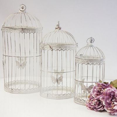 Vintage Rustic Birdcage YW1460Set of 3 - White