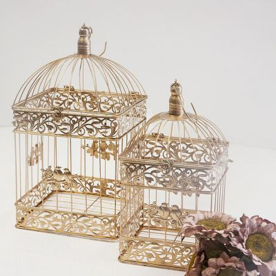 Gold Birdcage Square Set Of 2