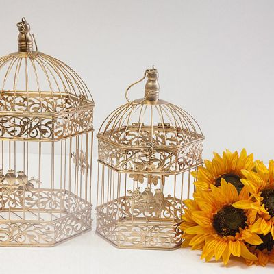 Gold Birdcage Hexagon Set 2
