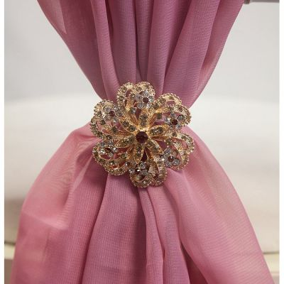 GOLD DIAMANTE FLOWER BROOCH TX7026 6 PACK