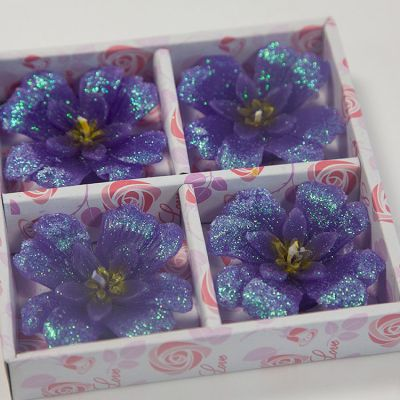 03 Floating Clover Candles 4 Pack - Purple