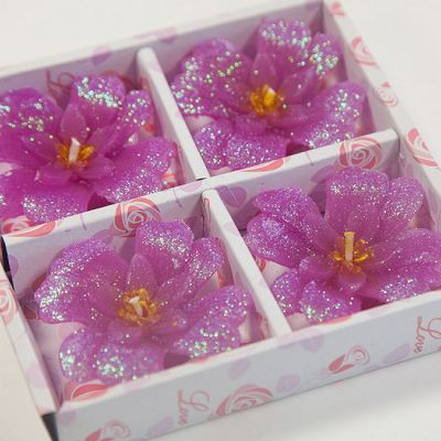 03 Floating Clover Candles 4 Pack - Fuschia