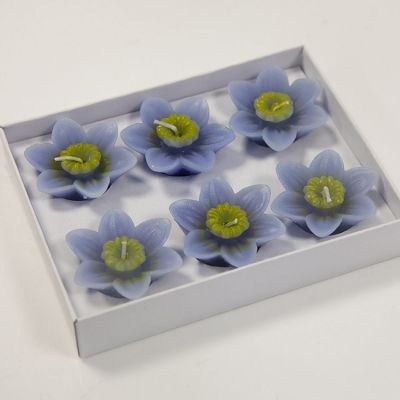 08 Floating Lotus Candles 6 Pack - Blue