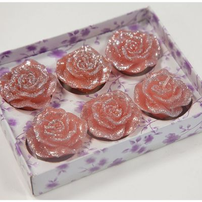 05 Floating Rose Glitter Candles 6 Pack - Coral