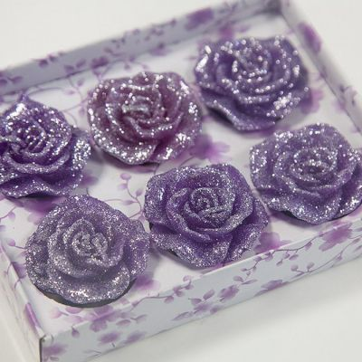 05 Floating Rose Glitter Candles 6 Pack - Purple
