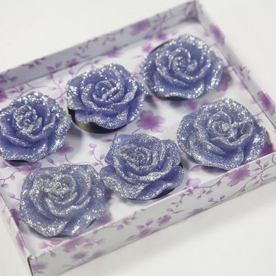 05 Floating Rose Glitter Candles 6 Pack - Blue