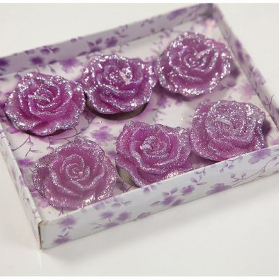05 Floating Rose Glitter Candles 6 Pack - Fuschia