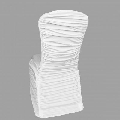 Ruched Lycra Chair Cover with Elasticated Pocket - White