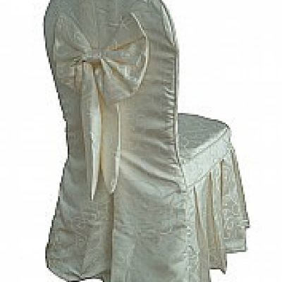 Pleated Skirt Cover with Bow - White