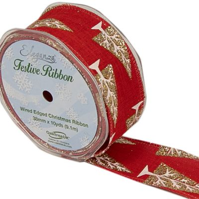 Christmas Tree Ribbon Red/Gold