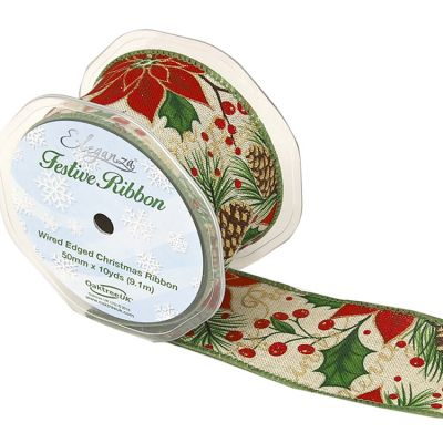 CHRISTMAS GLITTER POINSETTIA RIBBON