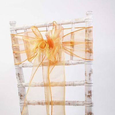 Organza Sash 20cm x 275cm - Orange/Gold