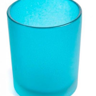 Frosted Glass Tea Light Holders with LED Lights - Blue