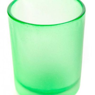 Frosted Glass Tea Light Holders with LED Lights - Green