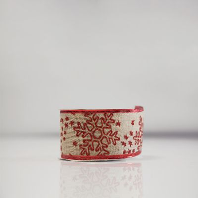 Christmas Hessian Ribbon - A2 Red Snowflake