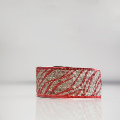 Christmas Hessian Ribbon - A3 Red Vine