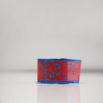 Christmas Hessian Ribbon - A4 Red/Blue Flower