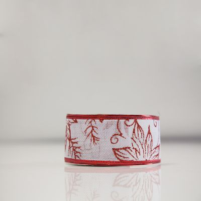 Christmas Hessian Ribbon - A7 Red/White