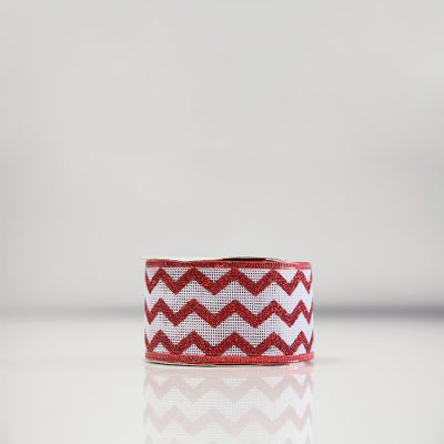 Christmas Hessian Ribbon - A8 Red/White Chevron