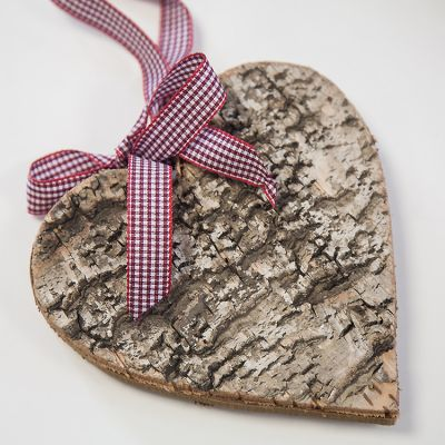 Birch Wood Heart Ornament