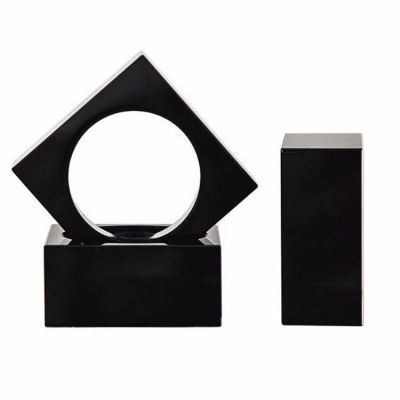 CRYSTAL NAPKIN RINGS SQUARE PACK OF 4 BLACK