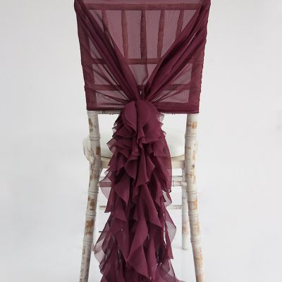Chiffon Hood with Ruffles - Burgundy