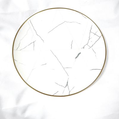 MARBLE EFFECT GOLD RIM CHARGER PLATE