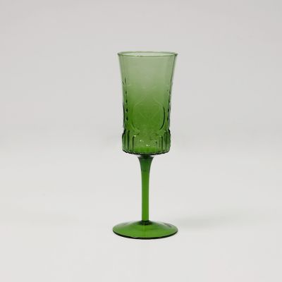 Vintage Art Deco Champagne Glass - Green
