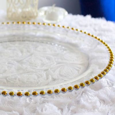 Charger Plate Clear Glass - Gold Beads