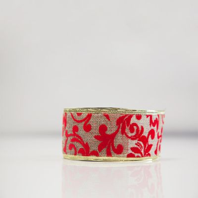 Christmas Flock Ribbon - D6