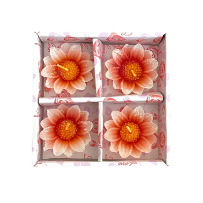 DAISY GLITTER FLOATING CANDLES 4 PACK