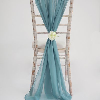Chiffon Vertical Drops - Dusty Blue