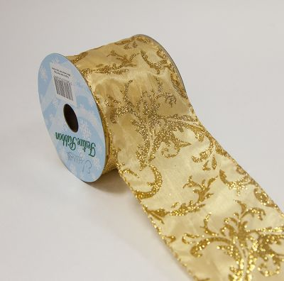 Christmas Damask Ribbon - Gold