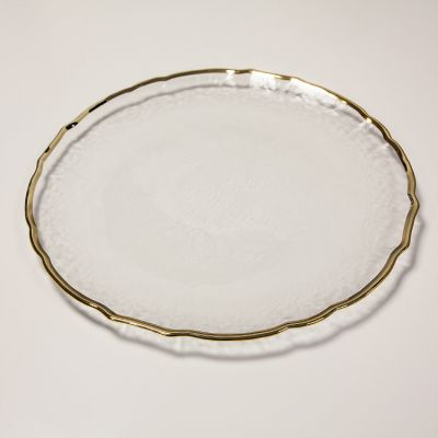 CHARGER PLATE GOLD WAVE RIMMED 0296