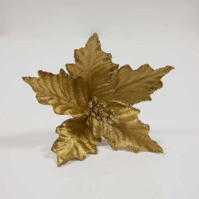 VELVET POINSETTIA PICK GOLD 6PACK
